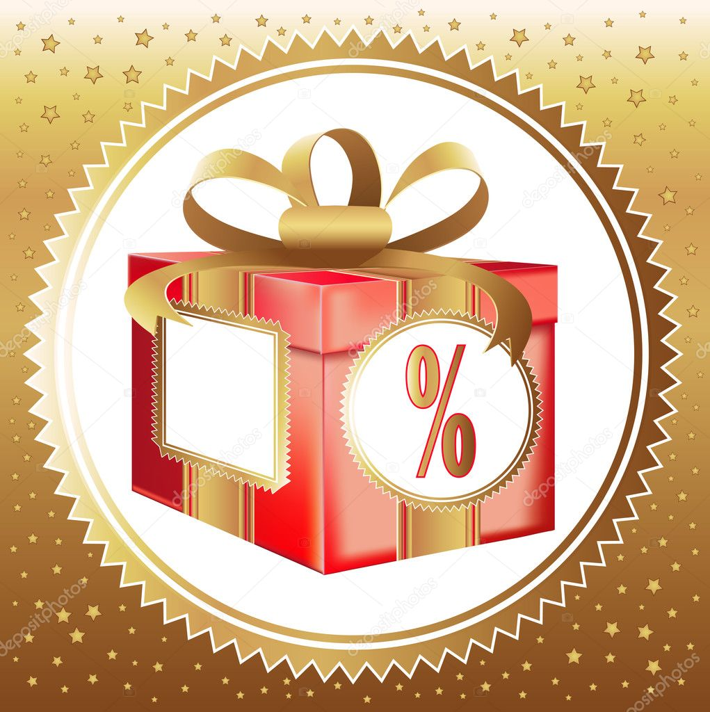 Red gift box with a symbol of percent — Stock Vector #1647637