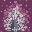 In love cats on a flowering tree — 图库矢量图片