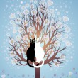 Stock Vector: In love cats on a flowering tree