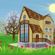 House is in the spring garden - Imagen vectorial