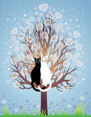 In love cats on a flowering tree — Stock Vector