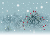 Winter landscape with snowbound trees — Stock Vector