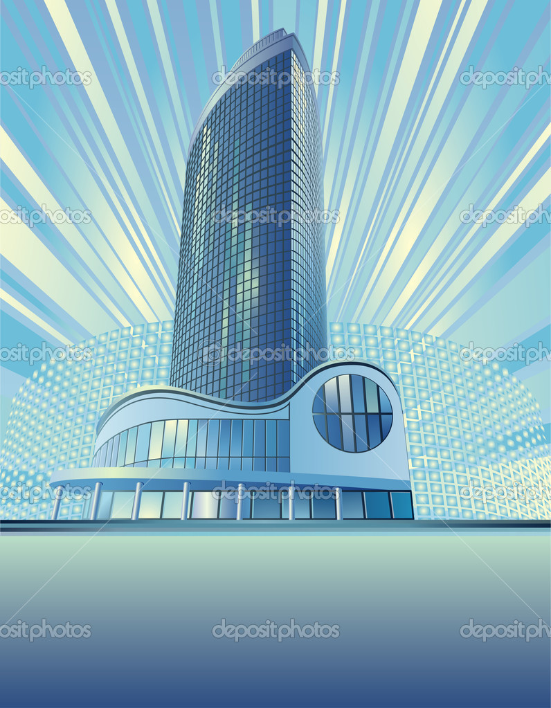 A modern sky-scraper is in the abstract cityscape — Stock Vector #1832227