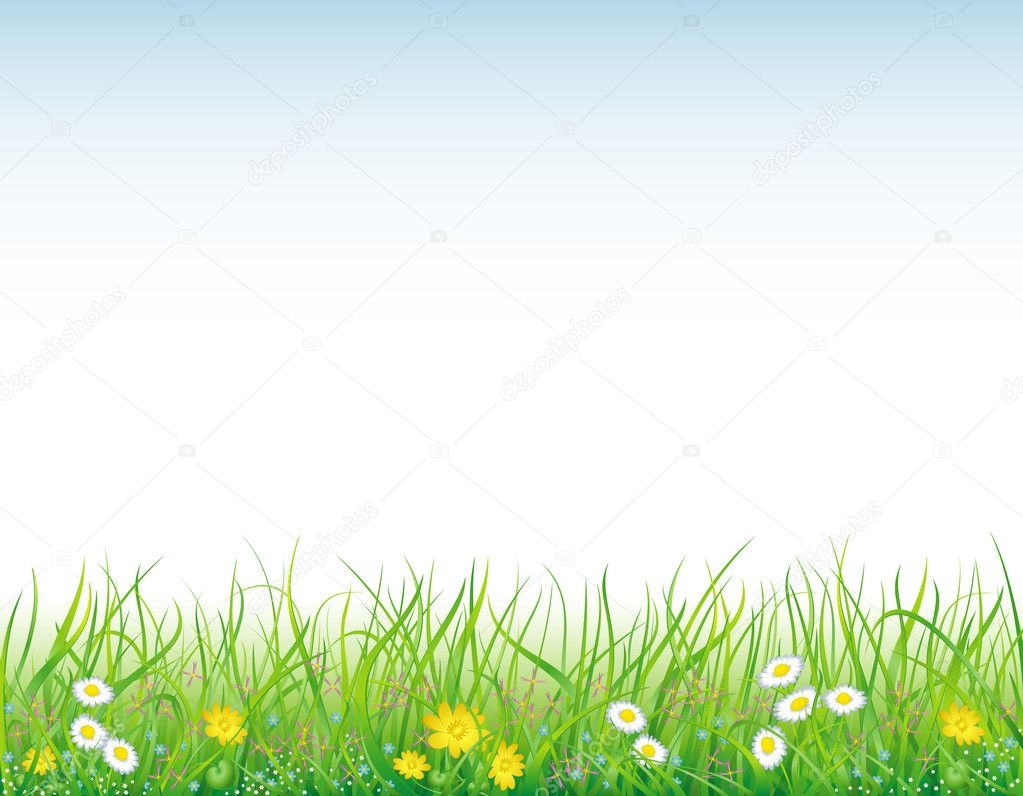 Bright, natural background with the fresh grass and field flowers — Stock Vector #1946010