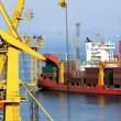Black sea cargo port in Odessa, Ukraine - Stock Photo