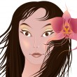 Girl with orchid — Stock Vector #2396866