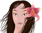 Girl with orchid — Stock Vector