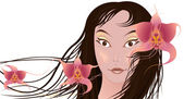 Girl with orchids — Stock Vector