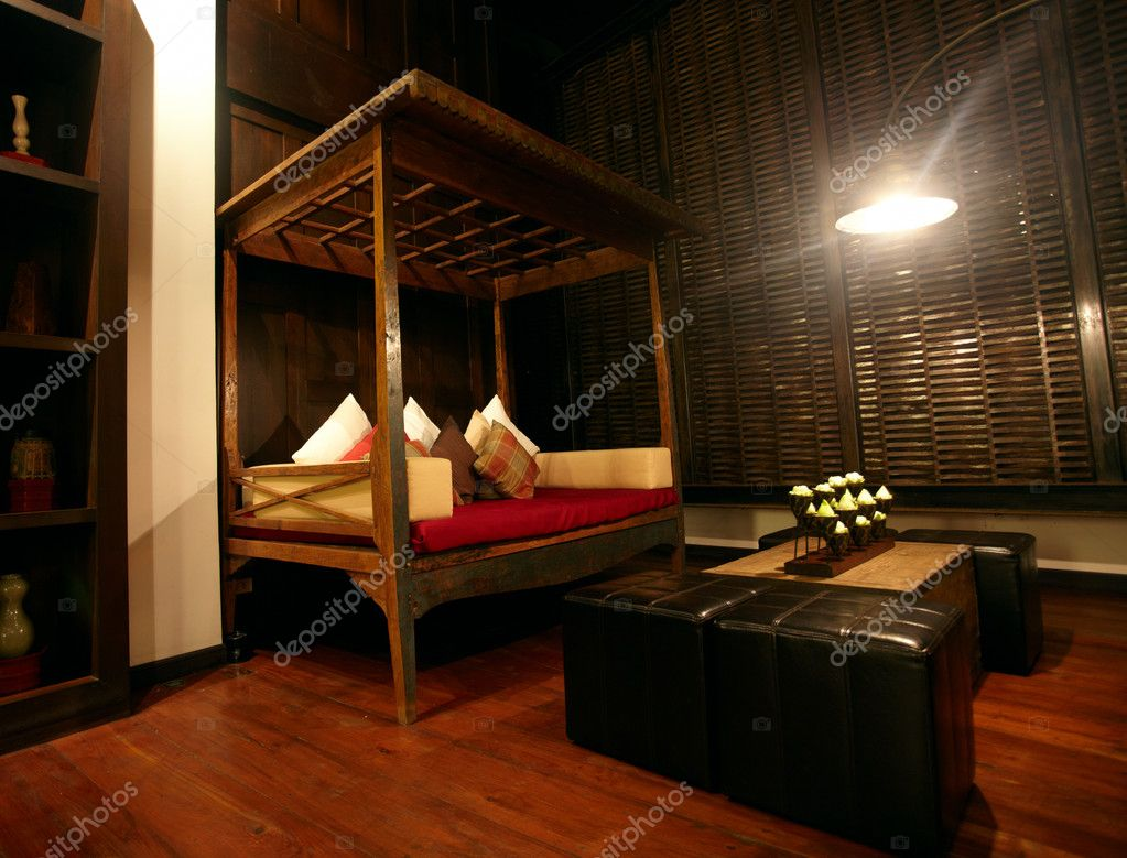Oriental style interior of one of the thai hotels  Stock Photo #1648861