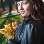 Pregnant women in autumn park — Stock Photo #1755957