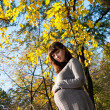 Pregnant women in autumn park - Stock Photo