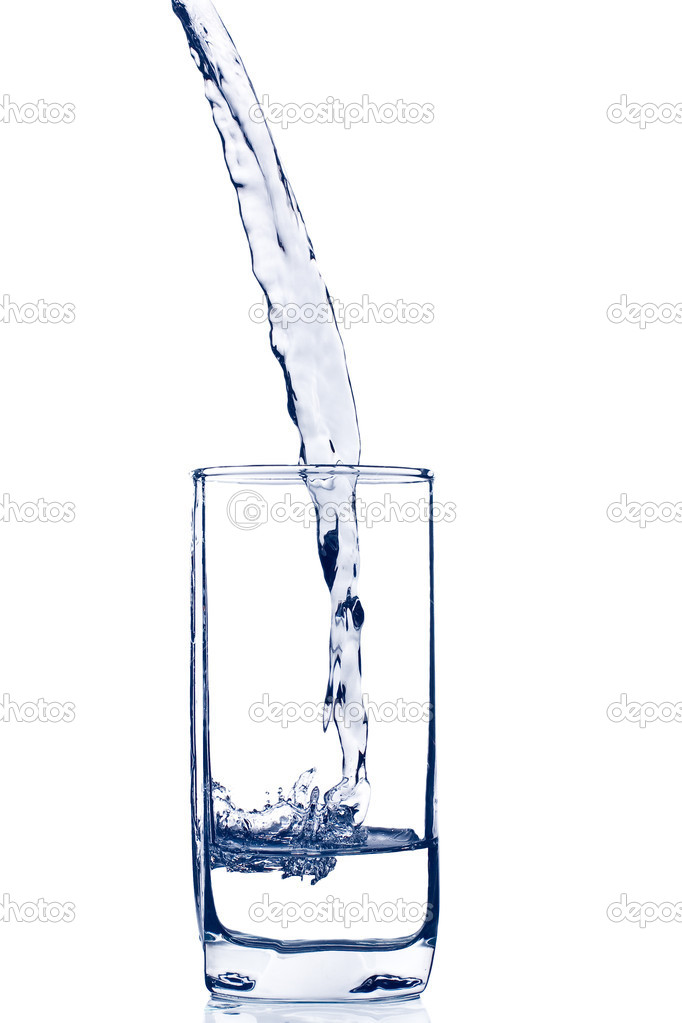 Glas of water isolated on white. Image toned in blue.  Stock Photo #1768824