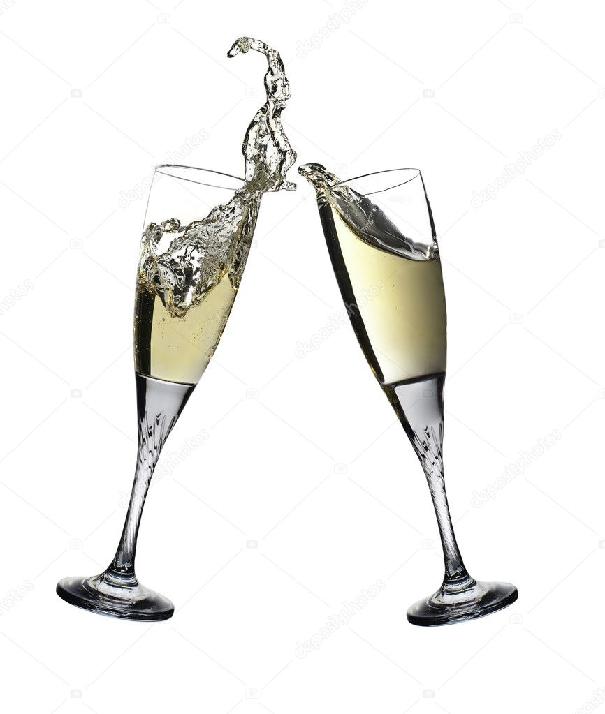 Pair of champagne flutes making a toast. Champagne splash — Stock Photo #1769512