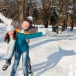Couple playing in snow — Stock Photo #2002765