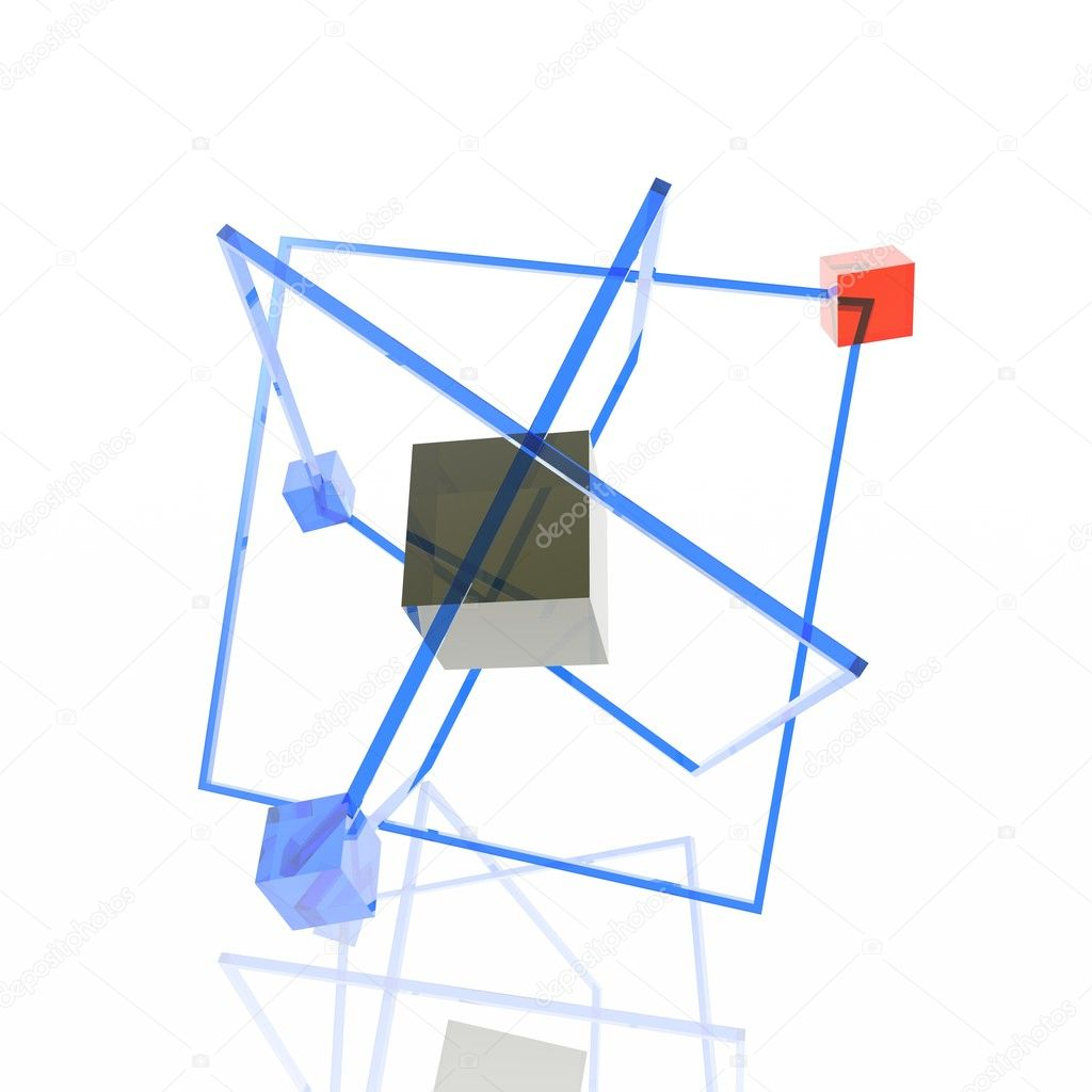 Unusual atom consisting of color transparent cubes — Stock Photo #1706292