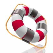 Color striped lifebuoy ring — Stock Photo