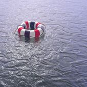 Lifebuoy ring on the sea — Stock Photo