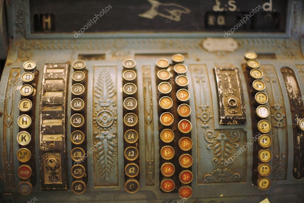 Detail of beautiful old mechanical cash register  Stock Photo #1784807