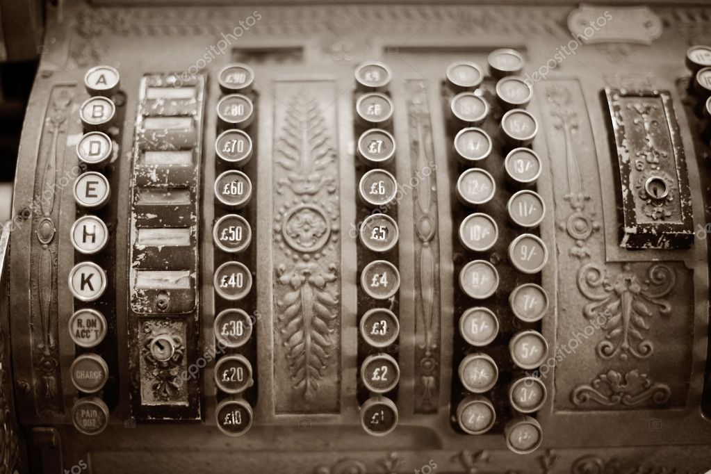 Detail of beautiful old mechanical cash register — Stock Photo #1784820