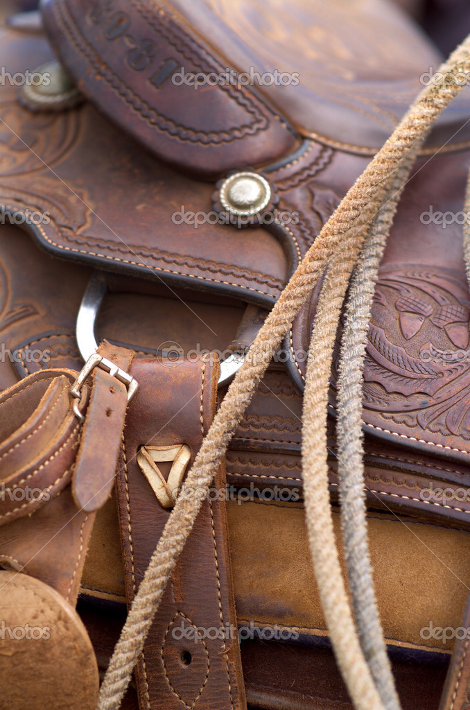 Close up detail of western horse saddle — Stock Photo #1785394