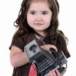 Child with old camera — Stock Photo