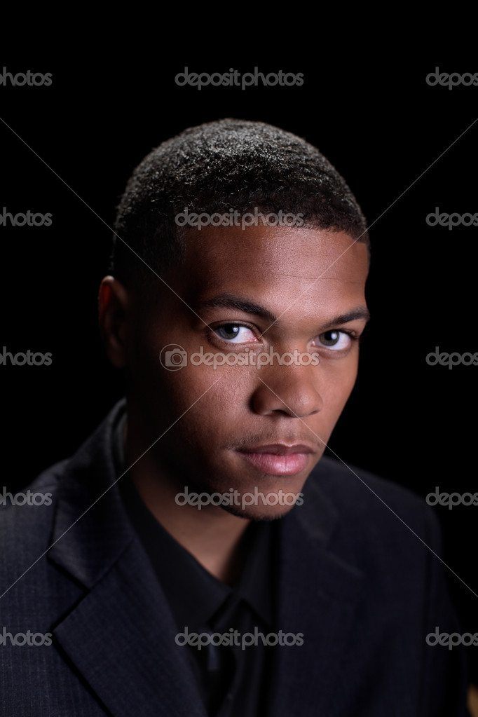 Portrait of young African American male in business suit — Stock Photo #1814650
