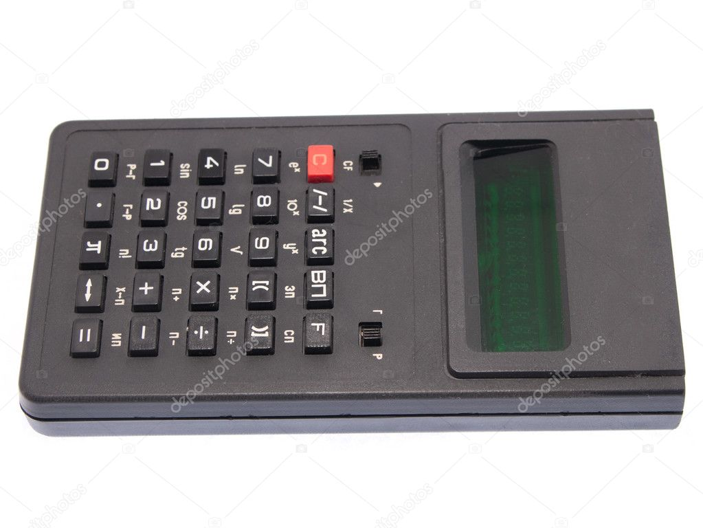 Grey isolated old Calculator over white background  Stock Photo #2215811