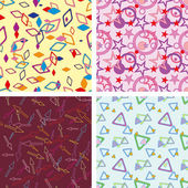 Set of chaotic seamless pattern — Stok Vektör