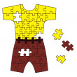 Abstract puzzle with shorts and t-shirt — Stock Photo
