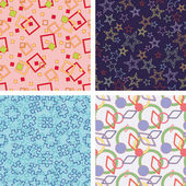 Set of chaotic seamless pattern — Stock Vector