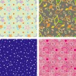 Set of chaotic seamless pattern — Stok Vektör #2076856