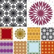 Set of abstract floral seamless pattern — Stock Vector