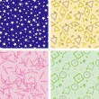 Set of chaotic seamless pattern — Stok Vektör #2519426