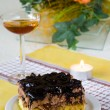 Cake and wine — Stock Photo
