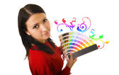 WOMAN HOLDING COLOR GUIDE — Stock Photo