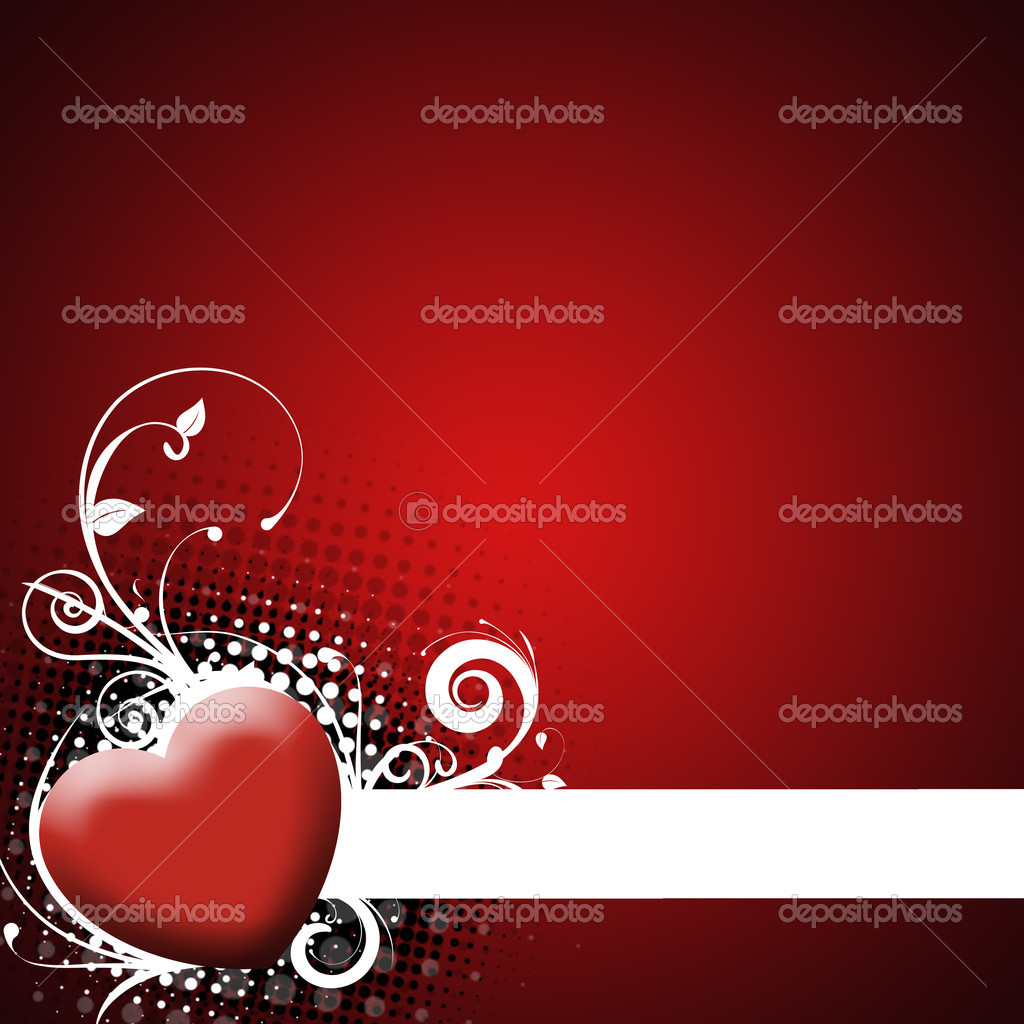 Valentines Day background with Hearts, floral and wave pattern, element for design — Stock Photo #1704603