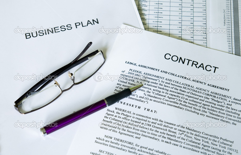 Selective focus image of business plan, contract, ballpoint pen and glasses — Stock Photo #1704841