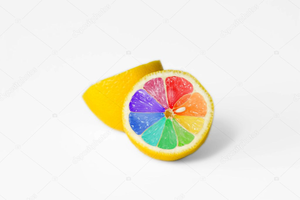 Coloured lemon on white background - creative design  Lizenzfreies Foto #1705159