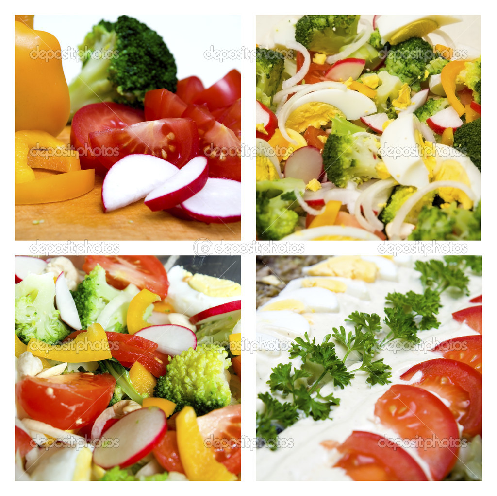 Collage of different salads and vegetable  Stock Photo #1705412