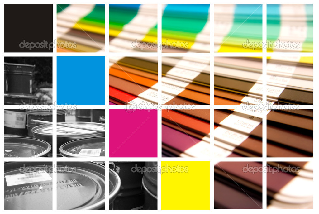 Pantone and cmyk color in beautiful collage  — Foto Stock #1705692