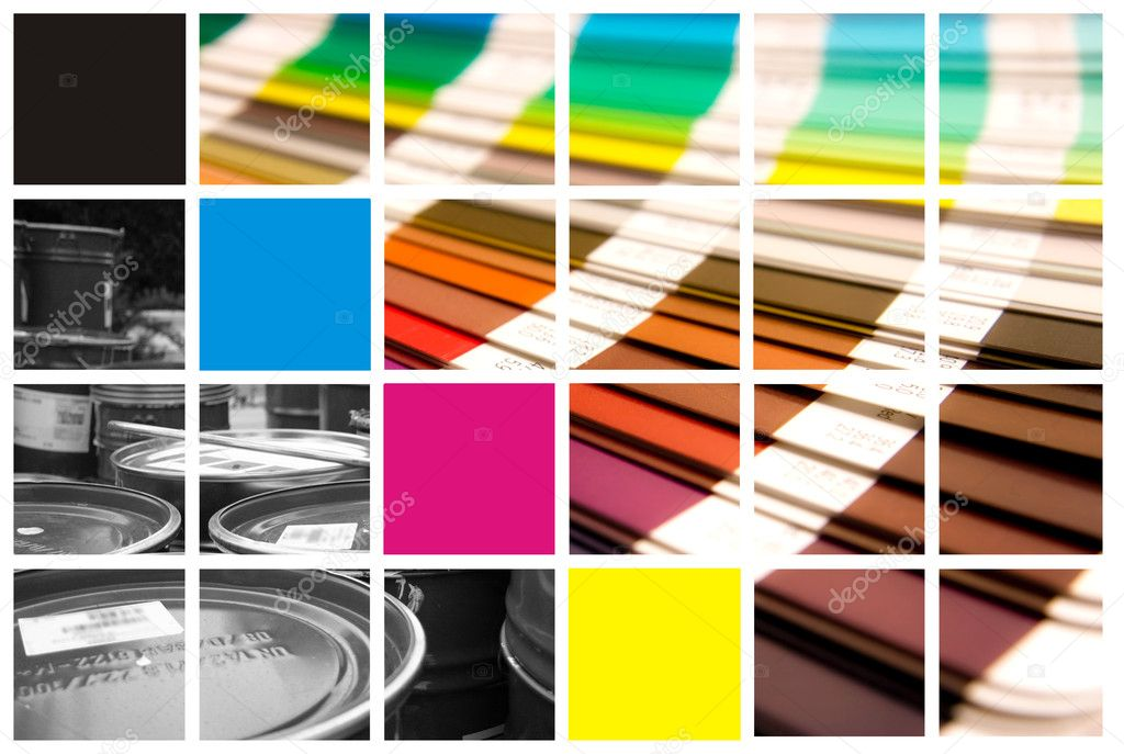 Pantone and cmyk color in beautiful collage  — Stok fotoğraf #1705692