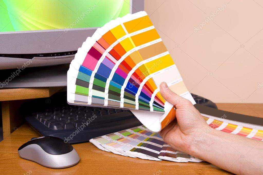 Designer at work. Color samples on table. — Stock Photo #1723586