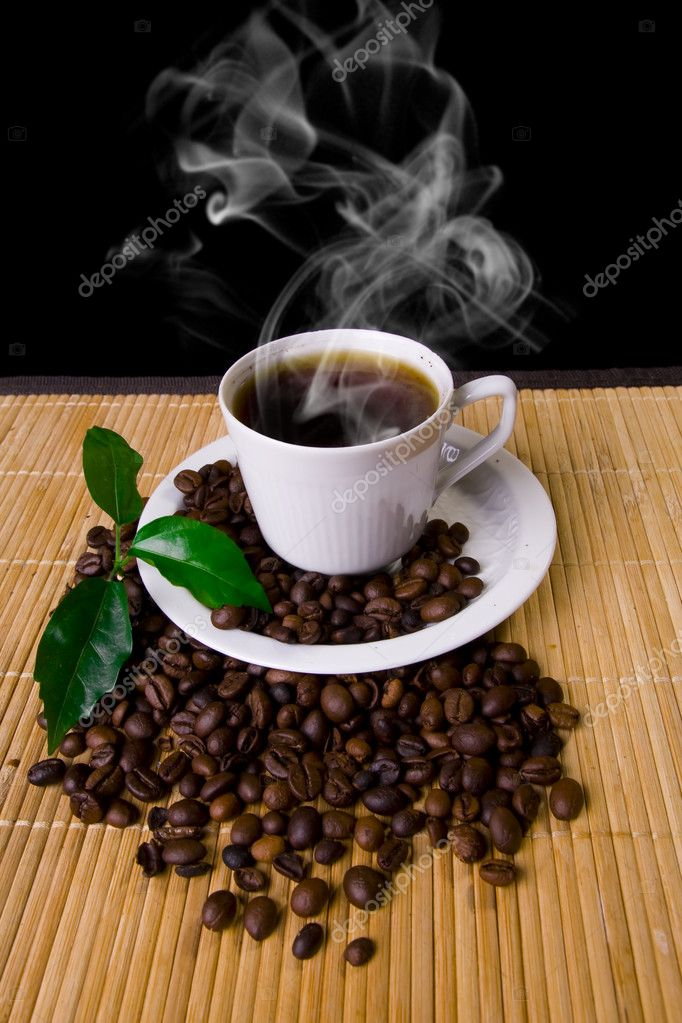 Hot coffee cup, coffe beans and young plant  Stock Photo #1723883