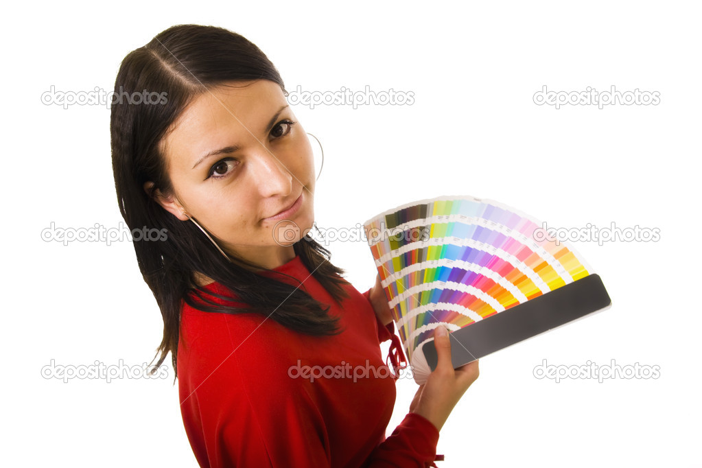 Stock photo of a young woman holding color guide — Stock Photo #1724474