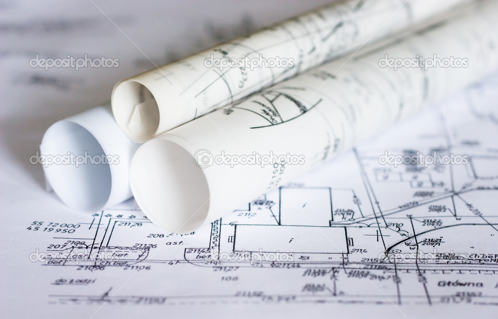 Plans and maps on the table — Stock Photo #1724885
