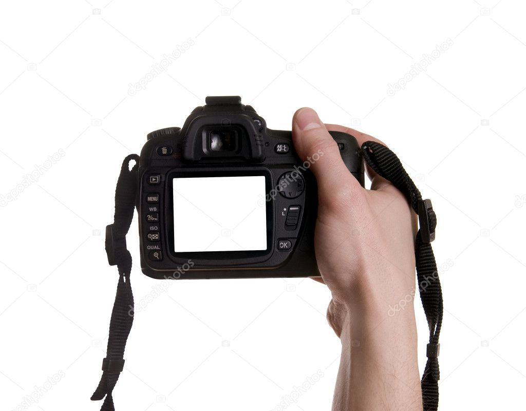 Photo camera in hand isolated on white background  Stock Photo #1724989