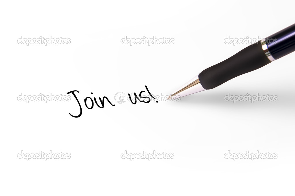 Fountain pen writing join us! — Stock Photo #2001287