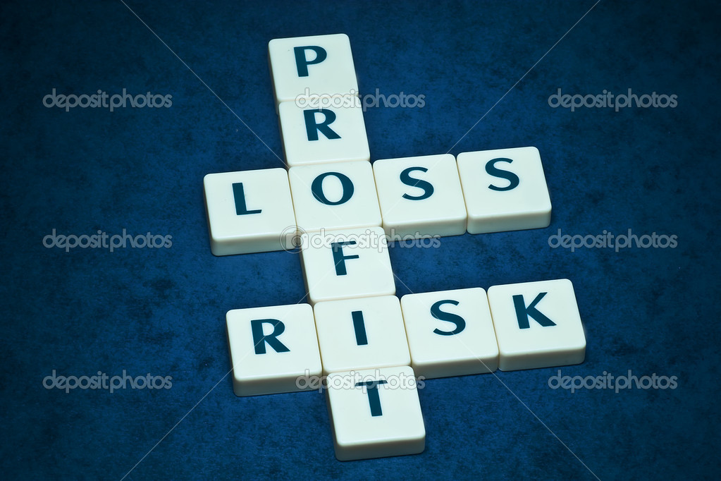 Profit, loss and risk crossword on beautiful blue backround   #2169229