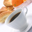 Stock Photo: Croissant, cup of coffee