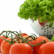 Fresh tomato and lettuce — Stock Photo